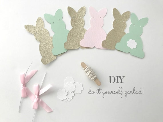 Diy bunny party garland kit in pink mint gold for 1st solutioingenieria Gallery