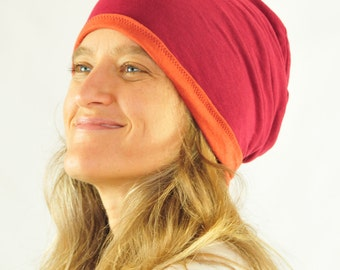Slouchy Hat - Reversible - Unisex - Rust Ruby Red - Organic Clothing - Eco Friendly Jersey