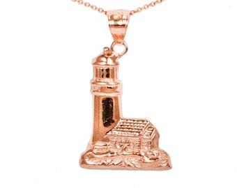 10k Rose Gold Lighthouse Necklace