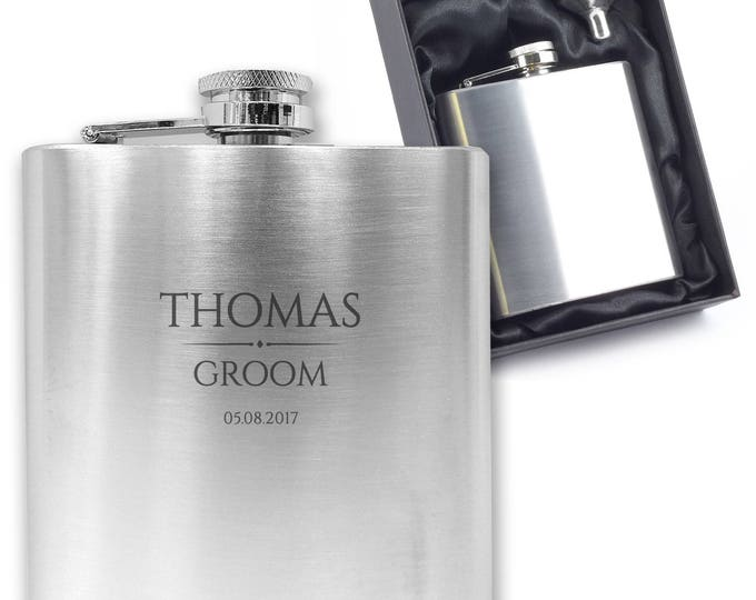 Personalised engraved GROOM hip flask wedding thank you gift idea, stainless steel presentation box - BR7