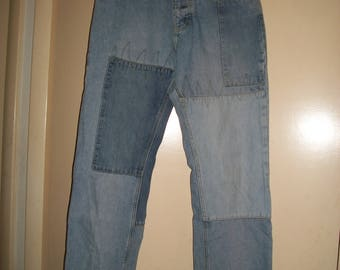 Vintage Tommy Hilfiger Patch Work Button Fly Jeans Size 11