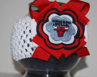 Chicago Bulls Fabric Flower Headband for Baby