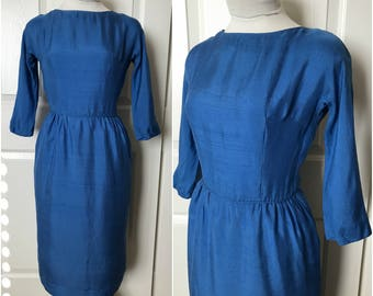 Vintage 1950's 1960's Cerulean Blue Raw Silk Wiggle Dress by Jonathan Logan - size Small XS Extra Small