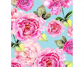 "Spring feeling - peony art print by original watercolor illustration, high quality print, pink&blue painting 30x40cm/12x16"", 50x70cm/20x28"""
