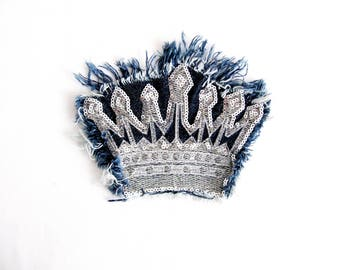 Denim Silver Crown Patch,Embroidered Crown Applique,Silver Sequin Patch,Denim Crown,Silver Crown,Sew On Crown Patch