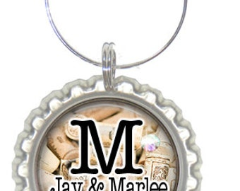 Set of 6 - PERSONALIZED WINE CHARMS -Wedding Wine Corks Monogrammed w/Swavorski crystals -Place Settings & Wedding Favors