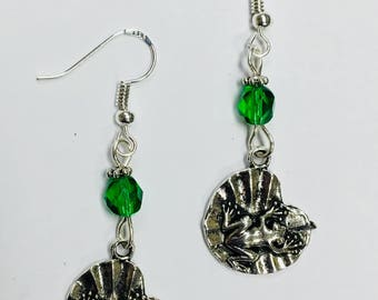 Frog on a Lilypad Earrings - on sterling silver earwires with faceted green crystal accent beads