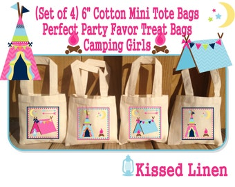 """Camping Girls Boys Birthday Party Treat Favor Gift Bags Campout Camper Tent Teepee Campfire Mini 6""""x6"""" Natural Cotton Totes Children Kids"""