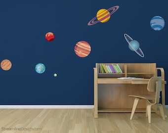 Planetary System Ten Piece Printed Matte Removable Decals | nasa decor solar system decal planet decals space wall decals planet wall decals