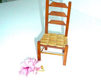 Dollhouse Miniature Ladderback Chair Cane Seat Vintage Toy Collectible Furniture