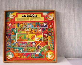 Vintage Goose Board/Jeu de L'oie/game of Goose Game