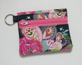 Bifold Keychain Wallet with Zipper Coin Pocket and Credit Card/Cash Pockets in Pretty Art Gallery Fabric, Pink, Navy, Green - One of a Kind!