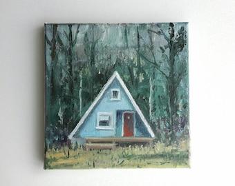 original acrylic painting, lake painting, small painting, landscape, original painting, tiny house painting, acrylics canvas, small canvas