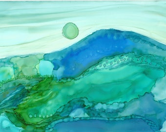Blue Sunset Alcohol Ink Painting