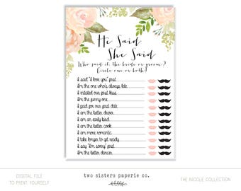 He Said She Said Game - NICOLE Collection - Printable Bridal Shower Game - Floral Watercolor Bridal Shower - Instant Download