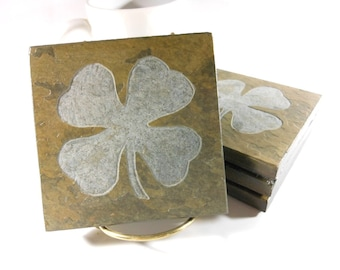 Shamrock Coasters - Hand Carved Multicolor Slate Stone Coaster Set of 4 - Lucky Four Leaf Clover, Porch Patio Decor Housewarming Moving Gift