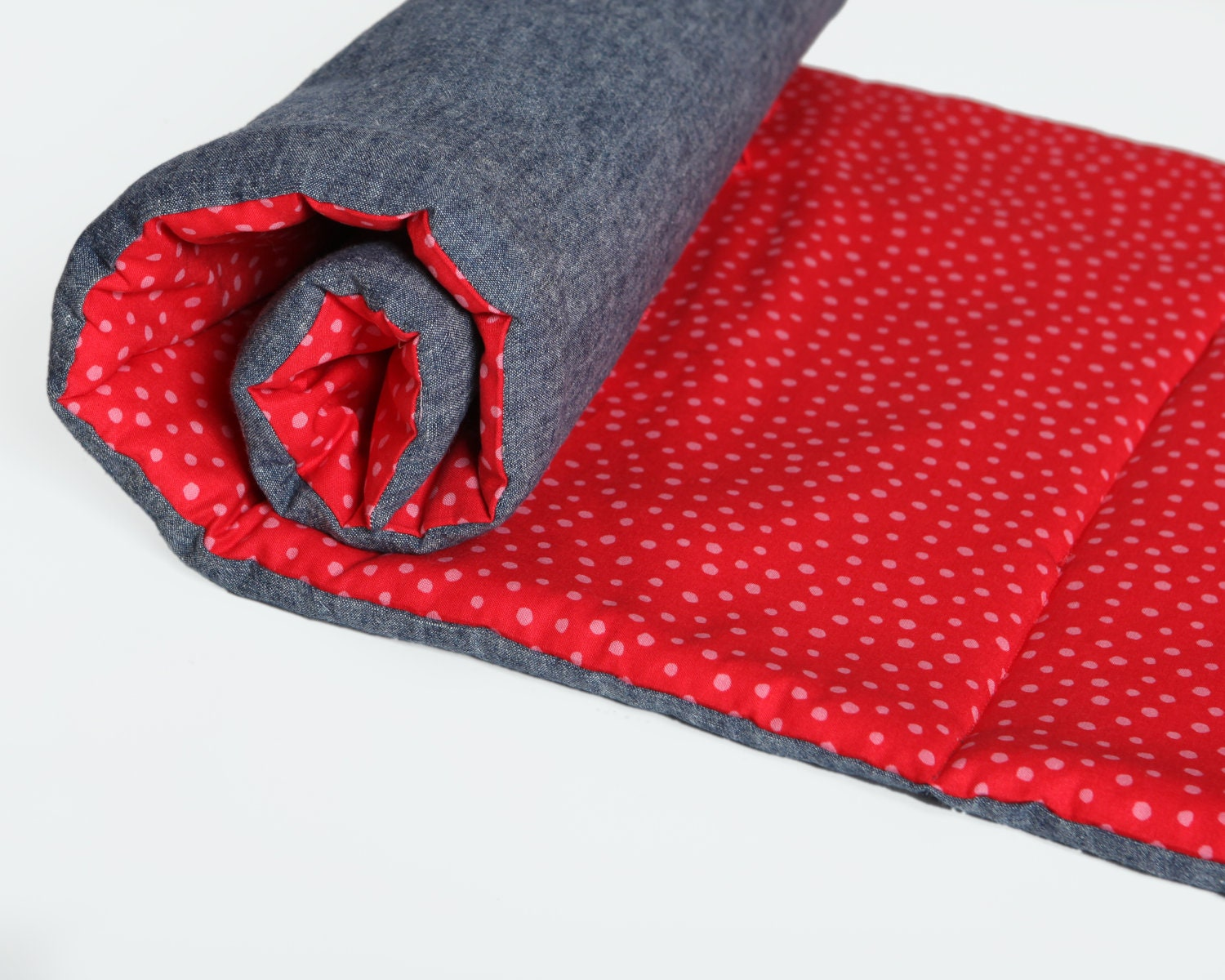 Red Organic Kids Nap Mat Retro Red And Pink Polka Dots Eco