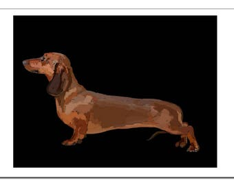 Dachshund Dog Illustration-Pop Art Print