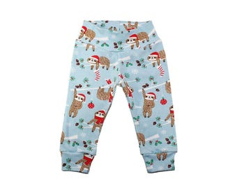 Christmas Sloth Leggings - Christmas Leggings - Boys Leggings - Girls Leggings- Baby Leggings - Toddler Leggings - Baby Pants - Outfit