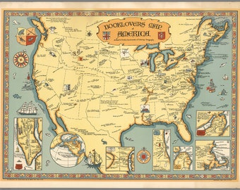 Booklover's Map of America by Paul M. Paine, Reproduction