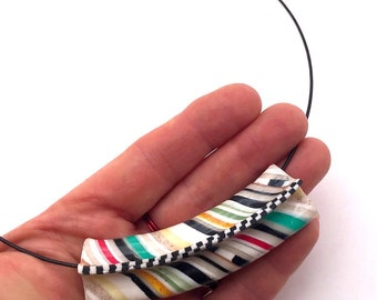 "A Flat tire designed Choker with Cable necklace ""Striped"" by Marie Segal 2008"