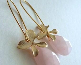 Large Rose Quartz Orchid Flower Long Lotus Petal Hoop Earrings