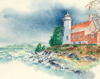 Lighthouse giclee print or original watercolor painting of the lighthouse at Eagle Harbor on Lake Superior, in Eagle Harbor, Michigan.