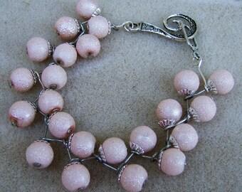 Fanciful Pink Bracelet - Softly Pink  Stardust & Silver Trim, Handmade Elegance by JewelryArtistry - BR531
