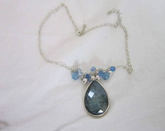Retro Silver Tone with Blue Faceted Lucite Pendant