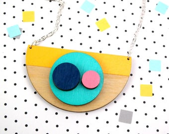Geometric Necklace - Semi Circle Pendant - Statement Necklace - Wooden Jewellery- Gifts For Her - Contemporary Jewelry - Half Moon Necklace