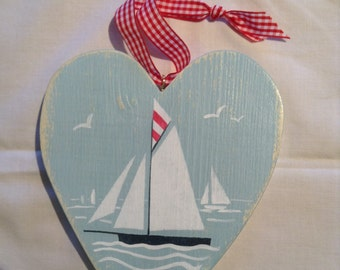 wooden heart, Falmouth working boat, hand cut and painted, coastal art, collectibles, nursery art, christening gift, made in Cornwall.