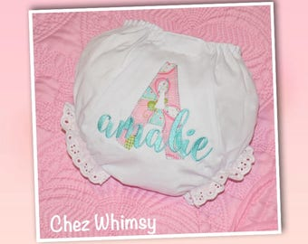 Baby Bloomers, Personalized Bloomers, Applique Bloomers, Embroidered Diaper Covers, Baby Girl Gift, Baby Shower Gift