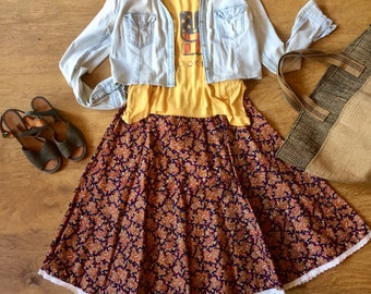 vintage. 1970s paisley skirt