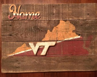 Vintage, Rustic, Distressed Virginia Tech Home Sign
