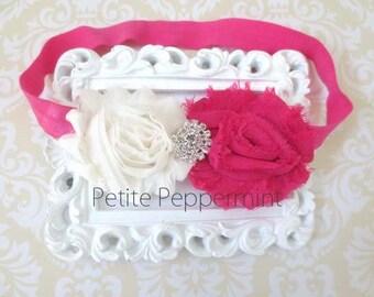 Shabby Baby headband,newborn headband,infant headband,toddler headband,Baby Girl Flower Headband,Baby Flower Headband,Shabby Flower Headband