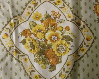 Vintage Waverly Turnbull House Combed Cotton Bonded Glosheen Two Large  Fabric Samples X0529 Celadon Green Background Yellow Floral