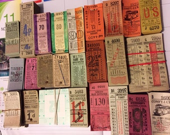 50p Mixed vintage bus tickets