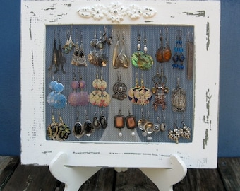 Cream Shabby Chic Jewelry Organizer, Earring Organizer, Jewelry Display /  Shabby Chic Home Decor / 25 - 40 Earrings