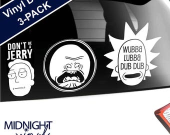 3-PACK - Rick and Morty Inspired Vinyl Decals / Fist Bump / Tiny Rick / Show Logo