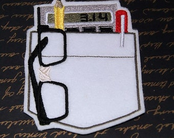 Nerdy Pocket Protector Iron On Embroidery Patch MTCoffinz