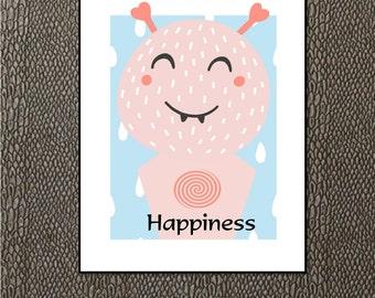 Alien Happiness - Digital Art - Gift for Boys - Gift for Girls - Kid's Room - Kids Art - Gift for Toddler - Child's Gift - Playful Wall Art