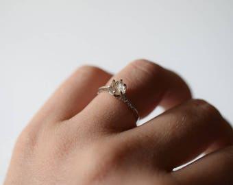 Raw Diamond Engagement Ring Rough Natural and Uncut Wedding Band Raw Gemstone