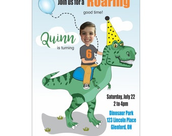 Dinosaur Birthday Invitation_Photo Dinosaur Birthday Invitation, Child's Dinosaur Birthday Invitation, Custom Digital Dinosaur Invitation