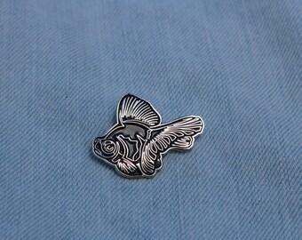 Black Moor Butterfly Telescope Goldfish Enamel Pin