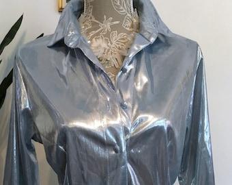 Blue Metallic Blouse // Size M // 70s BLouse // Shiny Blouse // Banjo Western Wear
