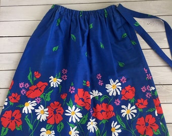 Vtg Peter Popovitch Skirt Bold Floral Print Primary Blue Red Yellow Pockets Lg