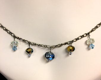 Recycled Antiqued Bronze Choker Chain Necklace with Blue Droplet Crystal Glass Beads