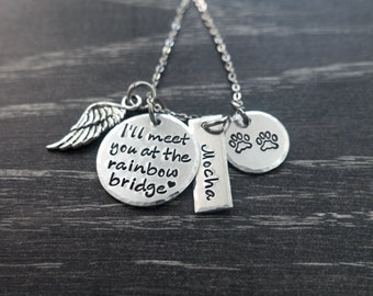 Pet Memorial Jewelry / Charm Necklace / I'll meet you at the rainbow bridge / Pet Memorial Jewelry / Loss of Pet