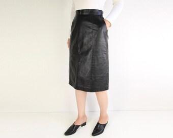 VINTAGE Black Leather Skirt Pencil Skirt 1980s Small