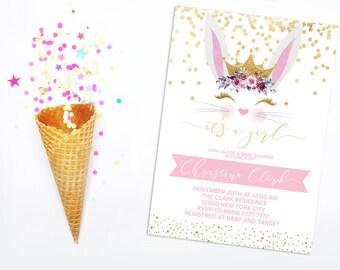 Spring Bunny Baby shower invitation Bunny Printable Invitation Girl Baby shower invite Gold glitter Blush pink  Bunny face Bunny themed